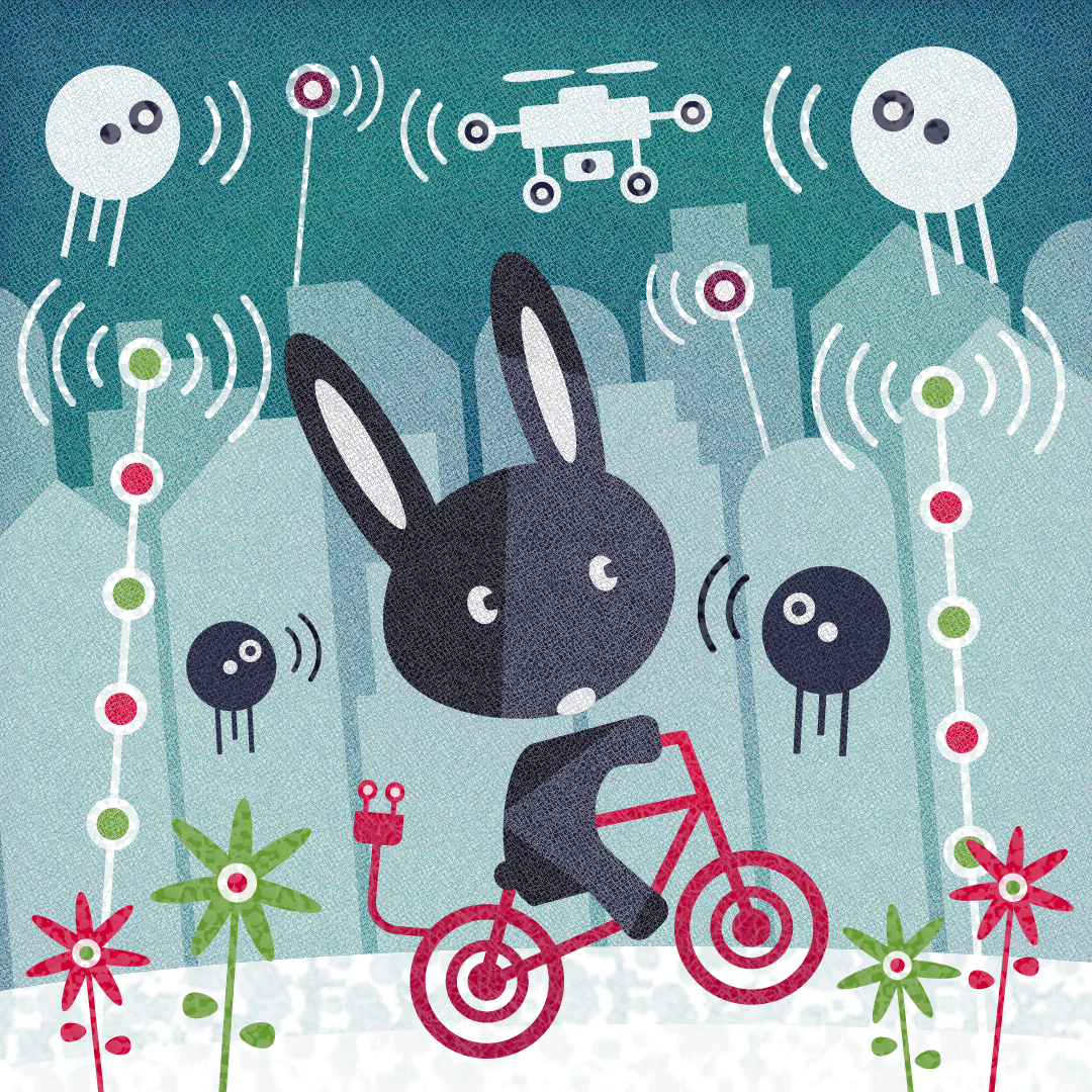 Rabbit on an electric bicycle in the automagic city